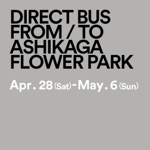 DIRECT BUS FROM / TO ASHIKAGA FLOWER PARK Apr. 28 (Sat) - May. 6 (Sun)