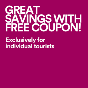 GREAT SAVINGS WITH FREE COUPON! Exclusively for individual tourists